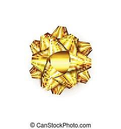 dourado, ou, anunciando, presente, ouro, experiência., símbolo, isolado, realístico, saudação, banners., cartazes, ano, novo, christmas branco, fitas, cartões, arco