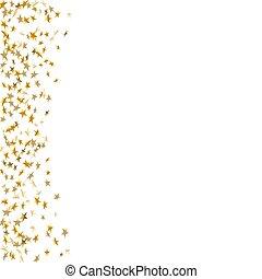 dourado, ouro, abstratos, sparkles., brilhar, cartão, padrão, isolado, experiência., estrelas, novo, queda, natal, estrela, ilustração, year., confetti, branca, celebração, decoration., vetorial, brilhante