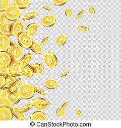 dourado, ouro, dinheiro, moedas, chuva, ou, vetorial, padrão experiência, moeda, transparente