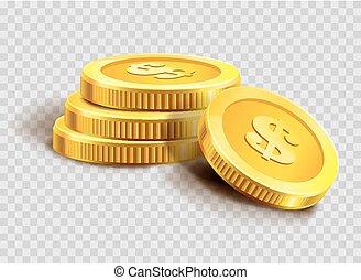 dourado, ouro, dinheiro, moedas, dólar, ou, pilha, moeda, heap., banco