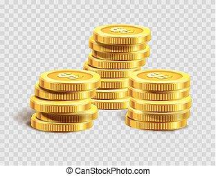 dourado, ouro, dinheiro, moedas, dólar, ou, pilha, moeda,...