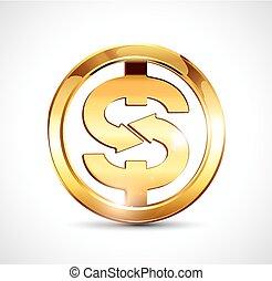 dourado, ouro, símbolo dólar, -, moeda