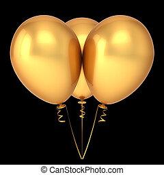 dourado, ouro, três, luxury., 3, partido aniversário, decoração, balões, grupo