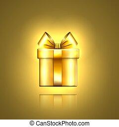 dourado, ouro, valentine, decoração, desenho, ano, fita, modelo, isolado, day., experiência., surpresa, natal, 3d, ilustração, aniversário, novo, celebração, presente, caixa, feriado, arco presente, vetorial, icon.