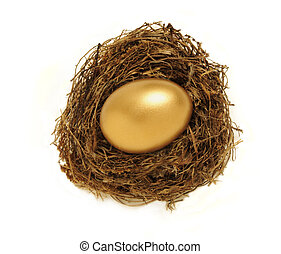 dourado, ovo ninho, representando, poupanças aposentadoria