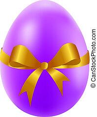 dourado, ovo páscoa, fita, arco