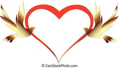 dourado, pássaros, ame coração, casório, cartão, convite