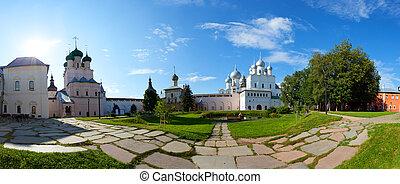 dourado, panorama, kremlin, anel, rússia, rostov