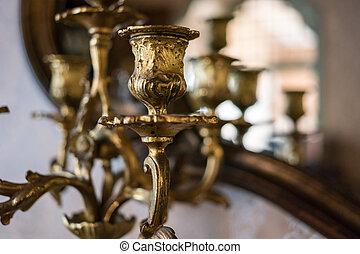 dourado, parte, chandelier.