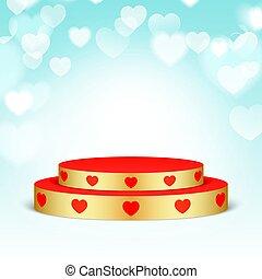 dourado, pedestal, hearts., vermelho
