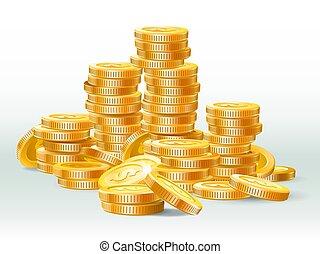 dourado, pile., ouro, dinheiro, moedas, dinheiro, ilustração, realístico, vetorial, dólar, montão, moeda, pilha