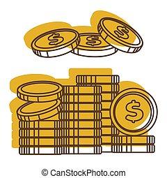dourado, pilha, dólares, eua, dinheiro, dinheiro