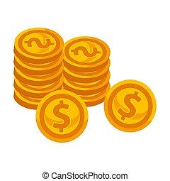 dourado, pilhas, moedas, dólar, isolado, ilustração, sinal