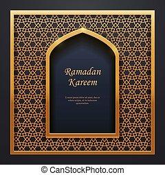 dourado, porta, mesquita, ramadan, tracery, islamic, janela, desenho, kareem