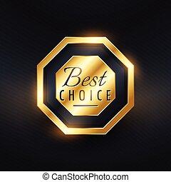 dourado, prêmio, escolha, desenho, etiqueta, melhor