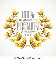 dourado, prêmio, ilustração, vetorial, wreath., laurel, qualidade