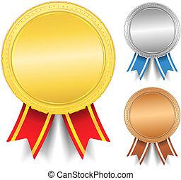 dourado, prata, bronze, medalhas