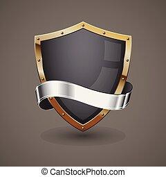 dourado, prata, escudo