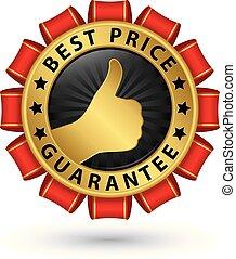 dourado, preço, ilustração, vetorial, etiqueta, melhor, garantia