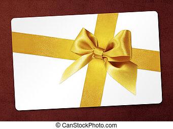 dourado, presente, isolado, arco, fita, fundo, cartão, vermelho