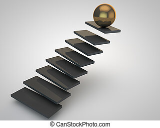 dourado, pretas, liderar, escadaria, esfera