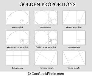 dourado, proporções, jogo, seção, ração