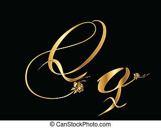 dourado, (, q, rosas, vetorial, letra