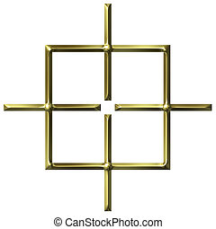 dourado, quadrado, alvo, 3d