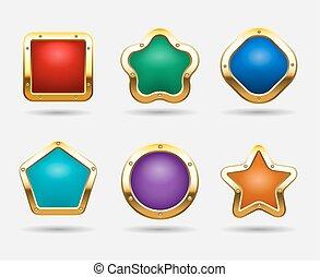 dourado, quadrado, botão, isolado, doce, botões, experiência., jogo, vetorial, bordas, formas, branca, estrela, círculo