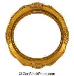 dourado, quadro, circular