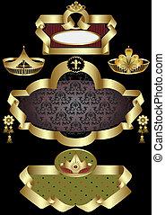 dourado, quadro, coroas