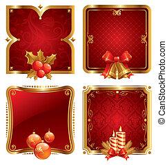 dourado, quadro, feriados, símbolos, vetorial, luxo, natal