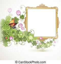 dourado, quadro, flores