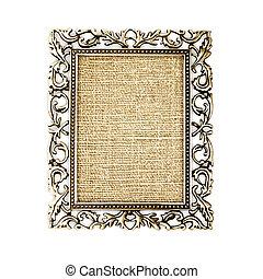 dourado, quadro, fundo branco