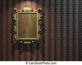 dourado, quadro, papel parede, clássicas