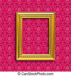 dourado, quadro, papel parede, madeira