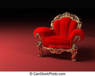 dourado, quadro, real, vermelho, poltrona