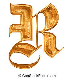 dourado, r, gótico, letra, padrão