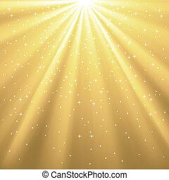 dourado, raios, estrelas, luz