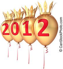 dourado, real, ano, novo, balões, 2012