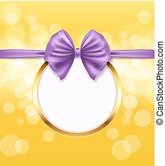 dourado, redondo, quadro, com, violeta, arco, fita, decorativo, experiência., vetorial, ilustração