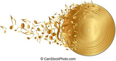 dourado, registro vinil, com, notas