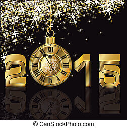 dourado, relógio, ano, 2015, novo, feliz
