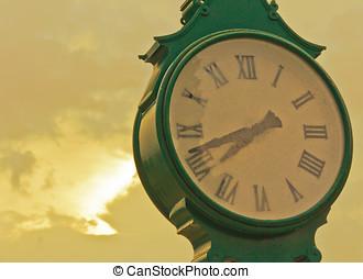 dourado, relógio, céu