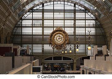 dourado, relógio, de, a, museu, d'orsay, em, paris, france.