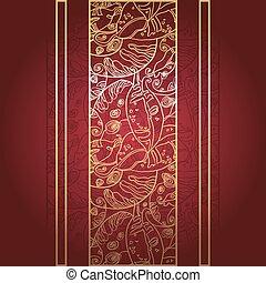 dourado, renda, ornamento, profundo, experiência., vermelho
