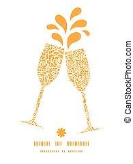 dourado, renda, padrão, quadro, rosas, silhuetas, vetorial,...