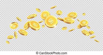 dourado, respingo, ouro, dinheiro, moedas, ou, vetorial, fundo, splatter, moeda, transparente