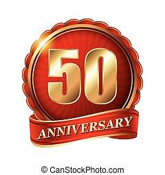 dourado, ribbon., 50, anos, aniversário, etiqueta