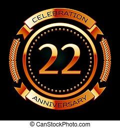 dourado, ribbon., vinte, aniversário, dois, anel, anos, celebração